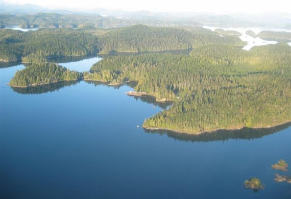 Aerial view of the Broughton Archipelago